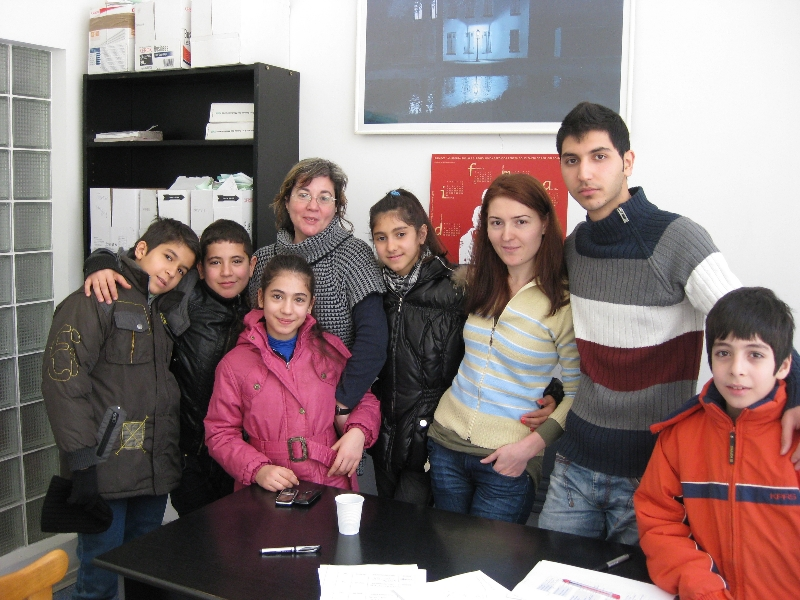 ICAR staff and refugee children