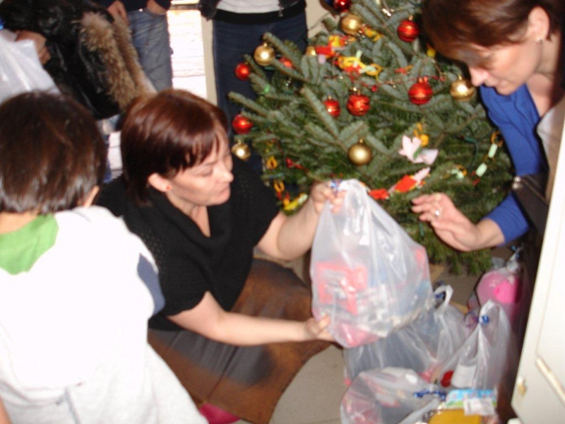 Handing out Christmas presents